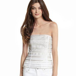 WHBM Embroidered Striped Bustier Top 4 NWT
